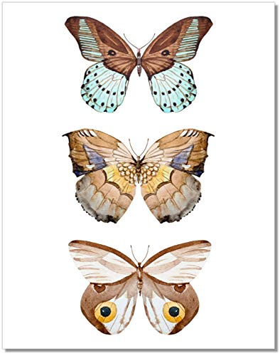 Butterfly Wall Art - Brown Butterflies Decor - Watercolor Art Print - 11x14 – Unframed Poster