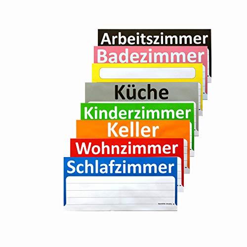 BT-Label 90 Umzugsetiketten XXL 21 x 10 cm Umzugsaufkleber ideal zum Beschriften von Umzugskartons - Etiketten gut sichtbar, 8 verschiedene Farben für Übersicht beim Umzug