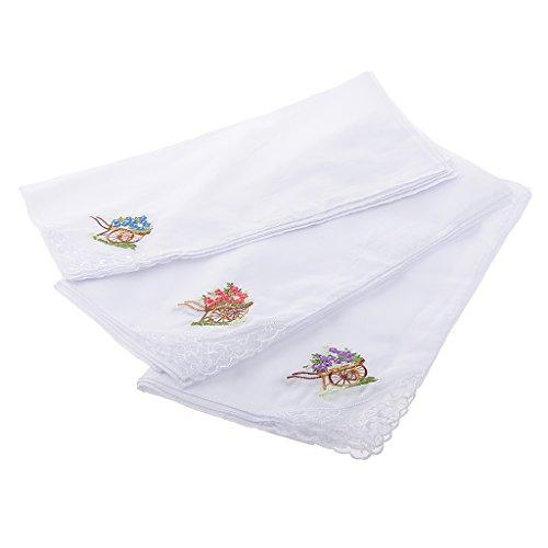 Gazechimp 12 Piezas De Pañuelo Pañuelos De Encaje Bordado De La Flor Blanca De Algodón Para Mujeres