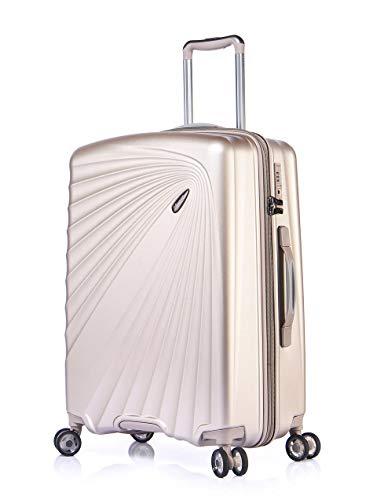 ABISTAB VERAGE Kinetic 4-Doppel-Rolle Trolley leicht M-66cm 68-84L erweiterbar, TSA-Schloss, ABS/PC Hartschalen-Koffer, Reisekoffer, Champagner