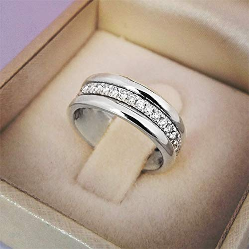 Fashion Wedding Women Ring Simple Finger Rings With Middle Pave Stones Understated Delicate Female Engagement Jewelry Girl Accessories ( Main Stone Color : Silver color , Metal Color : Gold color )