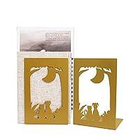 装飾的なブックエンド 恋人のメタルブックンドシンプルゴールデンブックエンド職場宇宙オフィス1ペアのための頑丈な本棚ブードエンドサポート 重いブックエンド (Color : F)