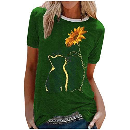 Andouy Damen Grafik T-Shirts Casual Kurzarm Rundhals Tops Stilvoll Bedruckte Bluse Oberteile(2XL.Grün-1)