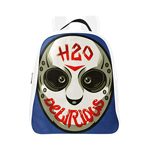 H20 Delirious Backpack Hockey Mask School Bookbag Kids Children Kindergarten Backpacks PU Leather Bag (White, Small)
