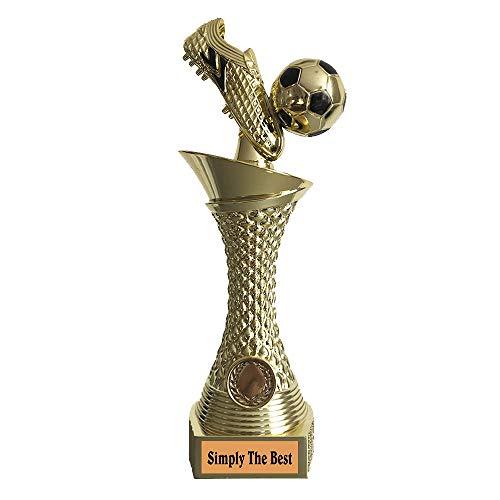 Larius Group Fußball Pokal mit Wunschtext Extra Groß (270mm, 430gr.) mit/ohne Wunschgravur, Trophäe Ehrenpreis Goldener Schuh 1 Platz (Simply The Best)