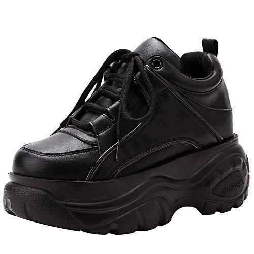 ANUFER Mujer Plataforma Alta con Cordones Casual Zapatos de Deporte Negro SN02920 EU38