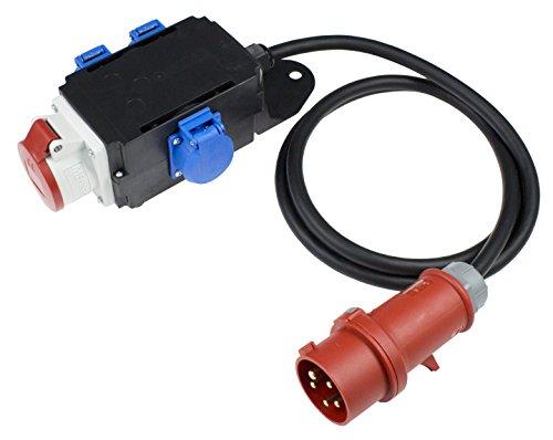 as - Schwabe MIXO Adapter/Stromverteiler ENZ Stecker mit 2 m Gummischlauchleitung und 1 x CEE und 3 x Schuko Steckdosen – Robuster Baustellen Starkstrom-Verteiler – IP44 – Made in EU I 61520, schwarz