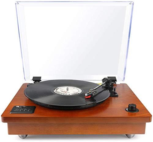 1 BY ONE Schallplattenspieler Riemengetriebener Plattenspieler mit Eingebautem Lautsprechern und Vinyl to MP3 Funktion, im Klassischem Design, Naturholz (471DE-0002)