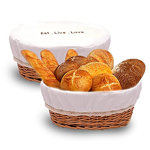 """La Jolie Table Elegant Bread Basket for Serving -12x9"""" Large Hand-Woven Rattan Bread Basket with Removable Cloth Cover, Washable, Oval Kitchen Baskets for Serving Bread, Fruit"""
