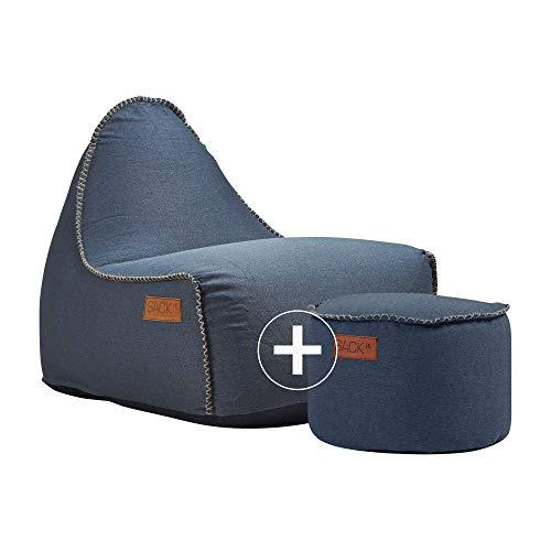 SACKit - RETROit Canvas - Indoor Sitzsack mit Lehne und Füllung mit EPS Kugeln für eine optimalen Sitzkomfort - Großer Sitzsacke für Erwachsene (Petrol)