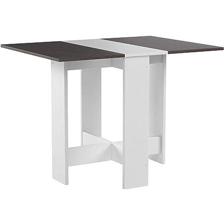 Papillon, Table Pliante avec 2 Abattants, en Panneaux de Particules Melaminés, Blanc/Béton 103/67/28x76x73,4 (LxPxA)