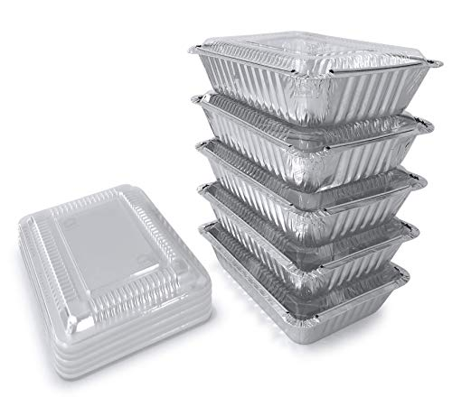 55 Pack - 2.25 LB Aluminum Pan with Lids / Disposable Aluminum Foil Pans / Food Trays / Food Containers with Clear Lids From Spare 2.25 Lb Capacity 8.5x6x1.5 BIG Size