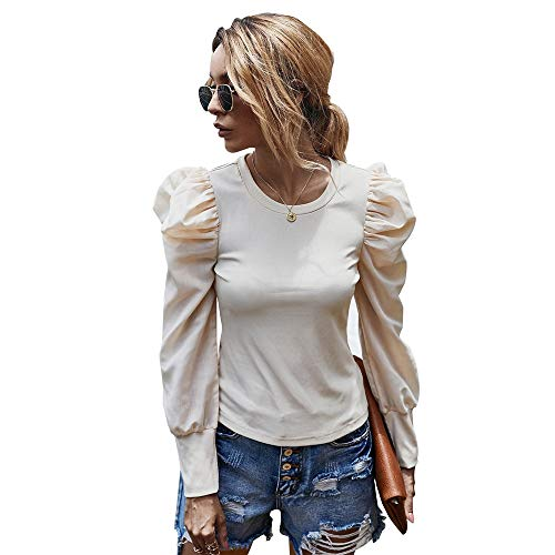 Mujeres Atractivas del Escote Redondo Tnica De Manga Larga Camisas Blusas Tops Camisa Basica