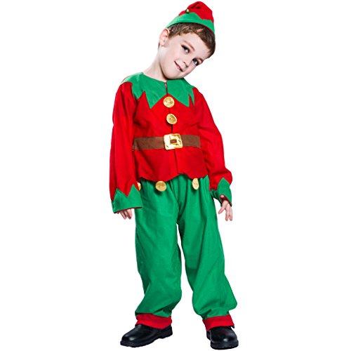 EraSpooky Niño Niña Infantil Duende Navidad De Papá Noel Ayudante Disfraz