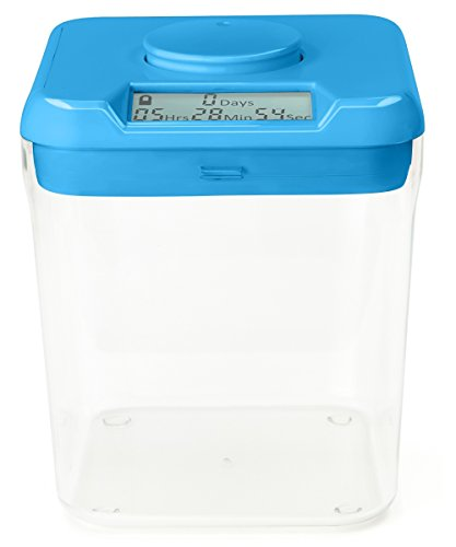 "Kitchen Safe: Time Locking Container (Blue Lid + Clear Base) - 5.5"" Height - AS SEEN ON SHARK TANK"