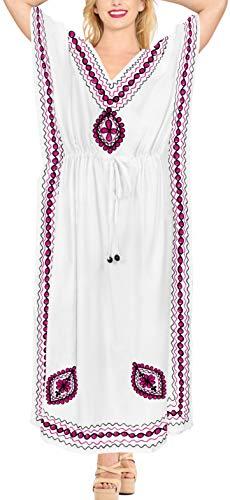 LA LEELA Mujeres caftán Rayón túnica Bordado Kimono Libre tamaño Largo Maxi Vestido de Fiesta para Loungewear Vacaciones Ropa de Dormir Playa Todos los días Cubrir Vestidos Ghosts Blanco_B972