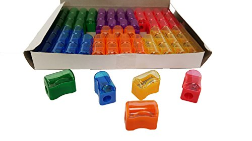Pencil Sharpeners For Kids with Removable Neon Colored Lids (72 Pack)
