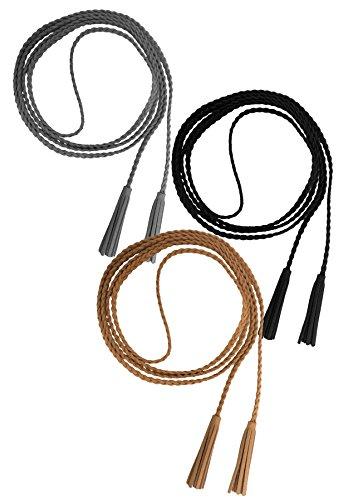 Nanxson Damen Taillengürtel Gewebte Quasten Kettengürtel Leder Dünner Gürtel für Kleid PDW0042 (schwarz + grau + apricot)