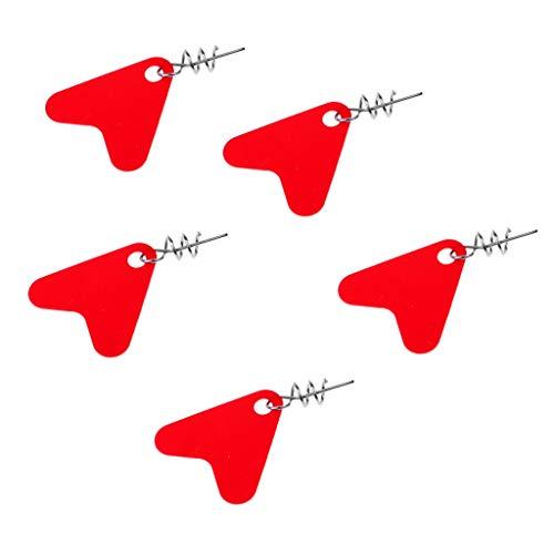 L-MEIQUN, 5 st fiskeverktyg spinnblad släta skedar rikar rödspätta djup kopp med låsstift Röd L