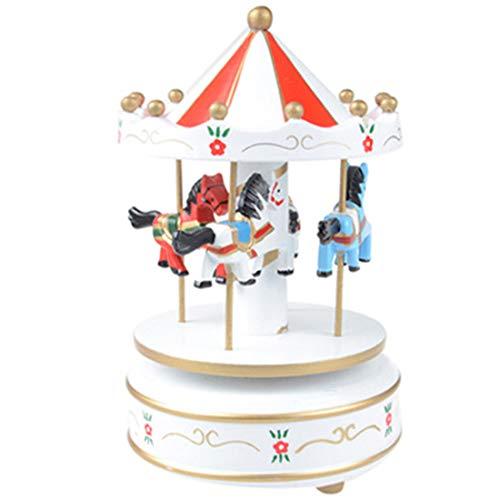Noyokere Vintage carrusel de Madera Caja de música niño niña Navidad Regalo de cumpleaños Juguete Boda decoración