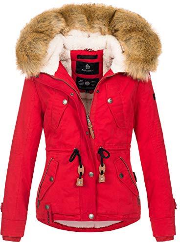 Navahoo warme Damen Designer Winter Jacke Winterjacke mit Kapuze und Teddyfell B643 [B643-Pearl-Rot-Gr.M]