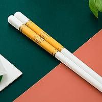 再利用可能な箸10ペア、家庭用およびレストラン用のプレミアム品質のボーンチャイナ箸、長さ9.8インチ、プレミアムギフトボックスパッケージ-W