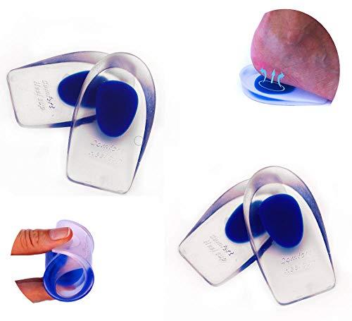 2 Pares de Plantillas taloneras de gel de silicona para aliviar el dolor, fatiga e hinchazón de pies, tobillos y rodillas. Almohadillas de talón para aumentar la altura. Hombre y Mujer