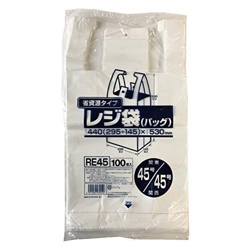 ジャパックス レジ袋 乳白 横29.5+マチ14.5×縦53cm 厚み0.017mm 一枚一枚 開きやすい エンボス加工 ゴミ袋 RE-45 100枚入