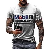 Camiseta de Aceite de Motor para Hombre, Camisetas de Manga Corta con Cuello Redondo y Estampado de Letras de Carreras