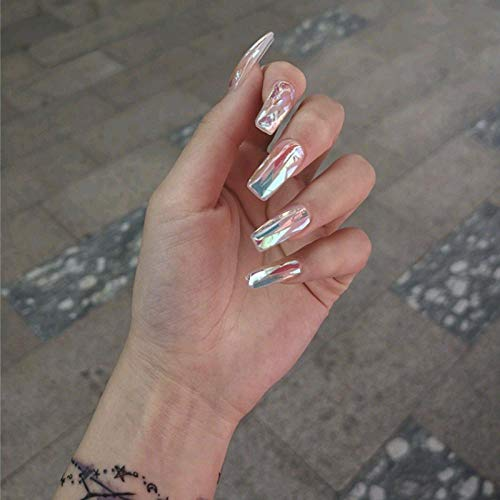 CLOAAE y White Glaze  False Nail Middle Long Lady Full Nail Tips Bridal False Nail Manicure