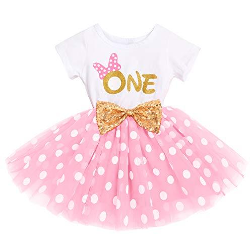 FYMNSI Vestido de manga corta para bebé, niña, de algodón, tutú de tul, línea A, vestido de princesa, vestido de fiesta para sesión de fotos., Rosa One (vestido solo), 12 meses