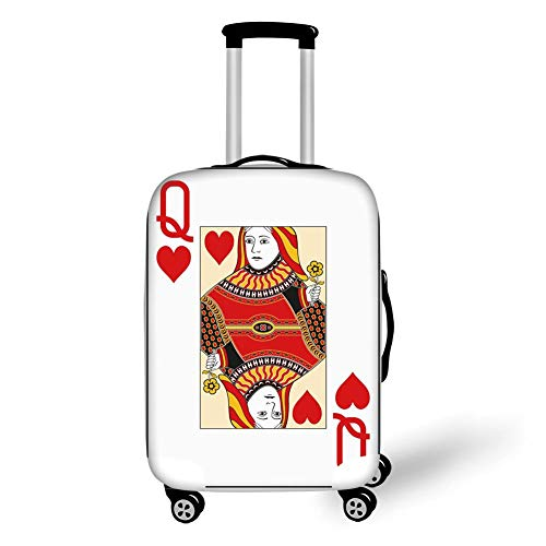 Travel Luggage Cover Suitcase Protector,Queen,Queen of Hearts Playing Card Casino Decor Gambling Game Poker Blackjack Deck,Red Yellow White,for Travel,L