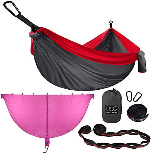 Gold Armour Camping Hammock and Bug Net Set - Double Parachute Hammock (2 Tree Straps 16 Loops/10 ft Included) USA Brand Lightweight Men Women Kids, Camping Accessories Gear (Gray & Red, Double)