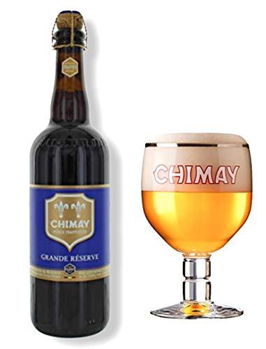 Original Belgisches Bier - CHIMAY Grande Réserve obergäriges braunes Klosterbier 9% vol. inkl. Glas