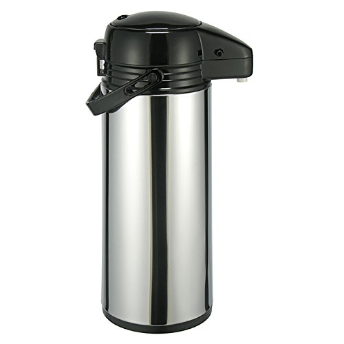Airpot 1,9 L Edelstahl Kaffeekanne rostfrei Pumpkanne Isolierkanne Edelstahlmantel mit Glaseinsatz