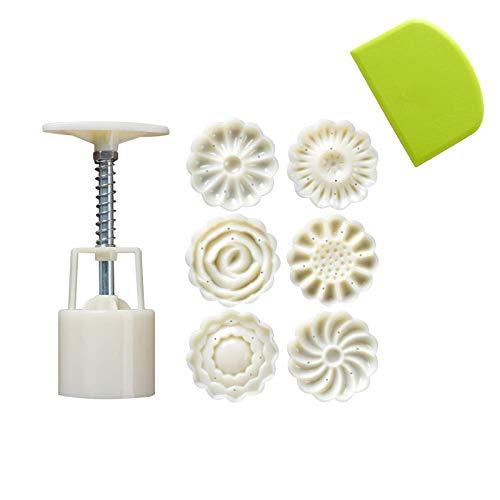 SoundZero 3D-Mondkuchen-Form, Mooncake Mould, Mooncake Mould Press 50g mit 6 Blume Briefmarken & 1Teigschaber Dekoration Tools zum Backen DIY Cooki, Plastikform-Kit Für DIY-Badebomben- Creme-Weiß