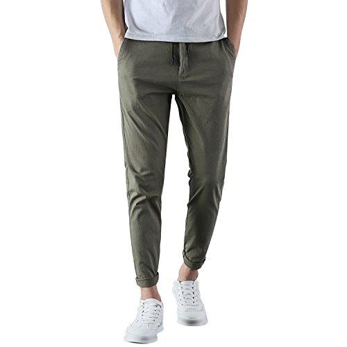 Libertepe Pantalon Casual Homme Pantalons Loisirs Sarouel Chino Jogging Sweat Pants Casual Sport Coton Vert Armée FR38(tag size32)