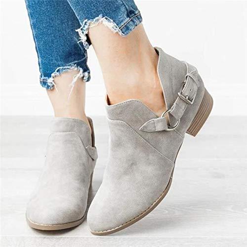 Chelsea Boots für Damen, Schlupfstiefel, Mid Heels, für den Winter, Kurze Stiefel,Grau,41