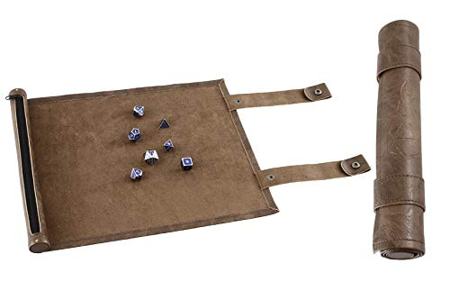 Forged Dice Co. Scroll Dice Tray and Rolling Mat with Zippered Dice Holder - Storage Pouch Holds up to 14 Metal or Plastic Polyhedral Dice - Compatible with DND and Dungeons & Dragons Game Dice