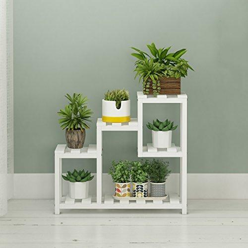 CJH Trompeten-Blumen-Zahnstange-Weiß-Innenleben-Fernsehmöbel-Balkon-Windows-Grün-Pflanzen Mehrschichtholz-Blumen-Topf-Zahnstangen-Fußboden-Art-Blumen-Stand-provinzieller Raum