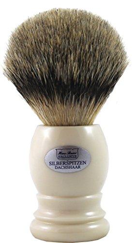 Hans Baier Exclusive Brocha de Afeitar (pelo de tejón punta de plata, cremeweiss