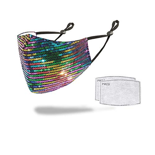 LOVINSHOW Sparkly Sequin Mask Crystal Masquerade Mask Halloween Party Mask Jewelry for Women (Sequin Rainbow)