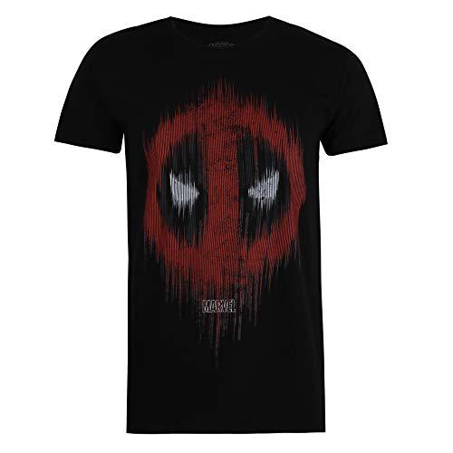Marvel Deadpool Lines Camiseta, Negro (, L para Hombre