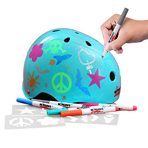 Product Image of the Wipeout Dry Erase Kids Helmet for Bike, Skate, and Scooter, Teal Blue, Ages 8+