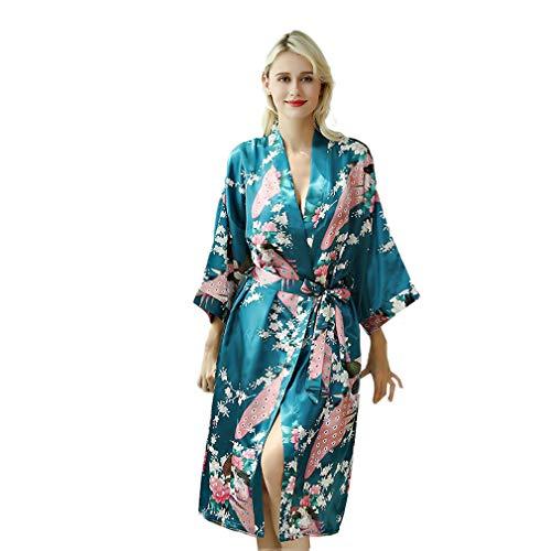 Albornoz Mujer Largo Pava de Sat¨¦n Camis¨®n Sexy Kimono Vestido