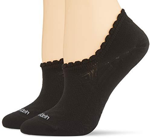 Calvin Klein Socks Womens no Show 2p Diamond Open Work Libby Socks, Black, ONE Size