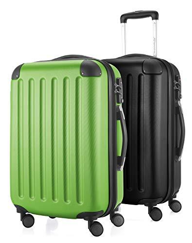 HAUPTSTADTKOFFER - Spree - 2er Koffer-Set Handgepäck Hartschale, TSA, 55 cm mit Volumenerweiterung, Apfelgrün-Schwarz