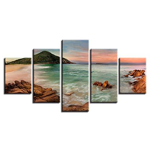 ACCEY Arte de la Pared Decoración Lienzo Moderno 5 Piezas Impresión en HD Playa de Arrecife Piedra Azul Isla del Mar Paisaje Pintura Poster Cuadro Modular, con Marco, 30X40 30X60 30X80cm