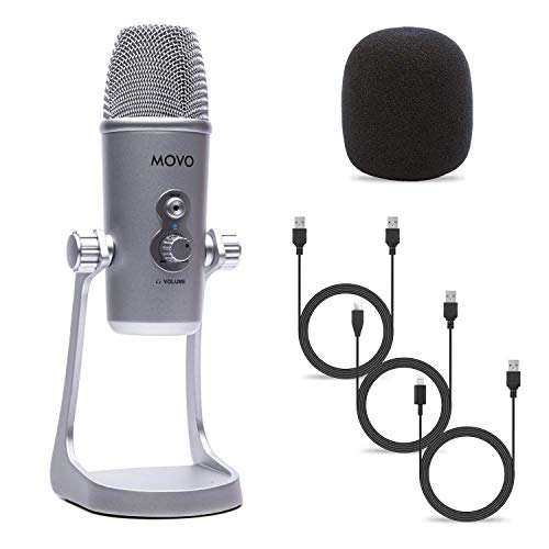 Movo UM800 Desktop USB Microphone for Computer, iPhone or Android with Adjustable Pickup Patterns and USB, USB Type-C and Lightning Cables - Podcast Microphone, Streaming Microphone, Gaming Microphone