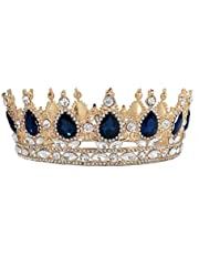 KINTRADE Fondo Oro Cristallo Vintage Regina Reale re diademi e corone Uomini/Donne Spettacolo diadema Ornamenti per Capelli Ornamenti per Capelli da Sposa Accessori per Gioielli